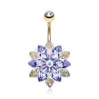 Golden Marquis Lotus Belly Button Ring (Tanzanite/Clear)