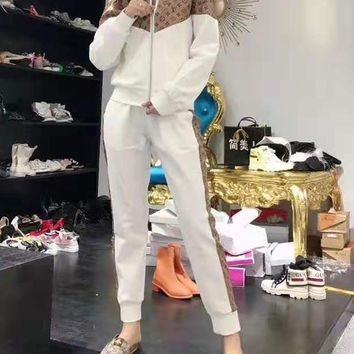 """LOUIS VUITTON"" Woman Leisure Fashion Wild Letter Printing  Zipper Spell Color Long Sleeve Coat Trousers Two-Piece Set Casual Wear"