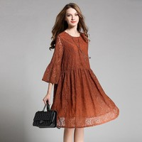 Fashion Lace Dress Spring 3/4 Sleeve Loose Elegant Ladies Dresses Brown Coffee Wine Red Women Dress