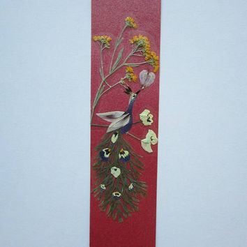 "Handmade unique bookmark ""The heart is a magnet"" - Pressed flowers bookmark - Unique gift - Paper bookmark - Original art collage."