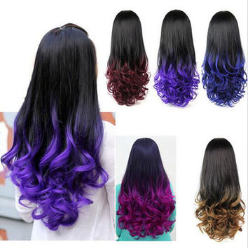 HOT Ombre Wig Hair Fall Dip Dye Half Wig Curly Hair Wigs Two Tone Gradient Two Colored Synthetic Wigs for Women Assorted Colors Free shippin