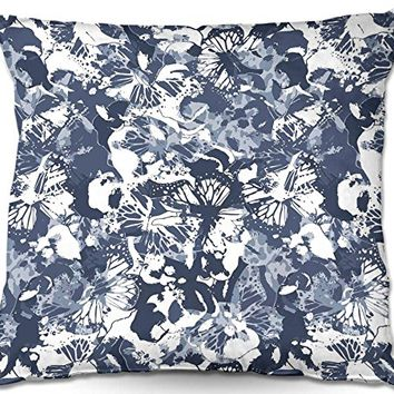 Decorative Woven Couch Throw Pillow from DiaNoche Designs by Julia Grifol Blue Butterflies II Unique Bedroom, Living Room and Bathroom Ideas