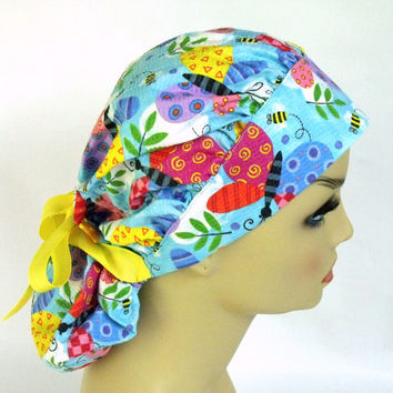 Women's Bouffant Surgical Scrub Hat or Cap Butterflies and Bees