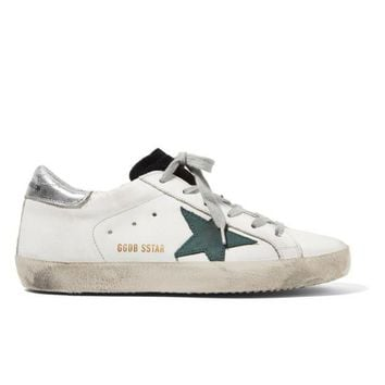 ONETOW GOLDEN GOOSE DELUXE BRAND Super Star distressed suede-paneled leather sneakers