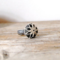 Crochet Covered Beach Pebble Adjustable Ring / by StitchHappens7