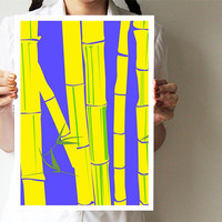 """Bamboo collection - A3 print - Trees - Blue and yellow - Nature art print 11""""x16"""" - Tropical - Brazil"""