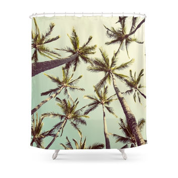 Society6 Palm Trees Sway Shower Curtain