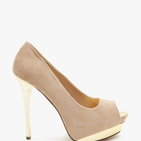 A'GACI Flight-S Gold Metal Toe And Heel Peep Toe - New Arrivals