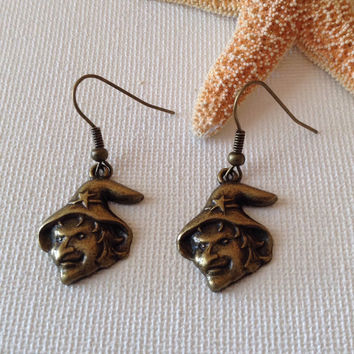Witch head bronze earrings, nickel free wires, halloween earrings, seasonal earrings