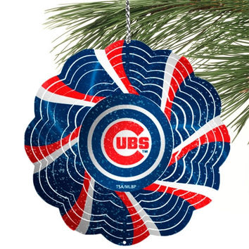 Chicago Cubs Geo Spinner Ornament - http://www.shareasale.com/m-pr.cfm?merchantID=7124&userID=1042934&productID=555877383 / Chicago Cubs
