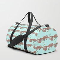 Lazy Baby Sloth Pattern Duffle Bag by Tanyadraws