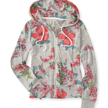Tropical Floral Full-Zip Hoodie