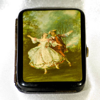 Ladies cigarette case; decorative and collectable with pictorial insert, black 1920s accessories