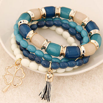 LEMOER Bohemian Fashion Multilayer Beads Four Leaf Clover Tassel Bracelets & Bangles Elastic Charm Bracelet Jewelry For Women