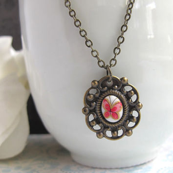 Petite Japan Vintage Butterfly Glass Cabochon on Antiqued Bronze Cameo Base Nature Pendant Necklace Simple Dainty Delicate Everyday Jewelry