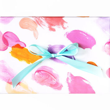 Abstract Watercolor Wrapping Paper - Pink Orange Purple Paint Modern Chic Party Gift Wrap
