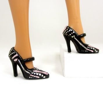 Barbie Doll Shoes - Doll Shoes Black with Silver and Pink Zebra Print Design