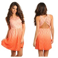 Orange Ombré Floral Lace Dress