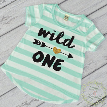 1st Birthday Girl Outfit First Birthday Girl Shirt Wild One Shirt Wild One Birthday Girl One Year Old Girl Outfit Green T-Shirt 048