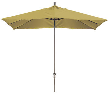 11 Foot Sunbrella 4A Fabric Rectangular Canopy Aluminum Crank Lift Patio Umbrella with Bronze Pole