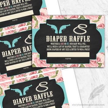 Pistols or Pearls Gender Reveal Diaper Raffle Tickets