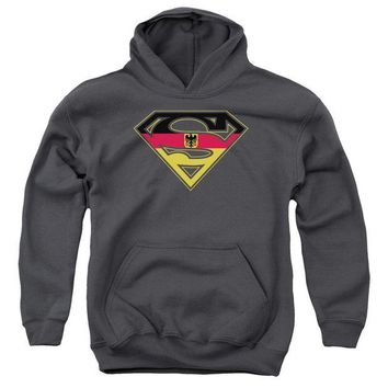 ac NOOW2 Superman - German Shield Youth Pull Over Hoodie