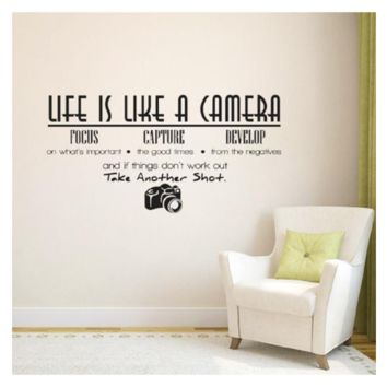 Black Wall Sticker Home Decor Photograph Vinyl Life Is A Camera Quote