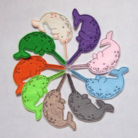 Iron On Patches Set of 9 Narwhal Embroidered Felt Appliques