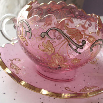 Antique 1920 Moser pink glass tea cup set, vintage hand painted tea cup and saucer, bohemian glass, Czech glass, pink wedding gift