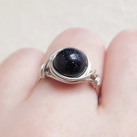 Big Starry Night Sky Ring - unique ring - cute ring