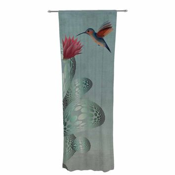 "Angelo Cerantola ""Hummingbird And Cactus"" Green Red Animals Floral Illustration Painting Decorative Sheer Curtain"