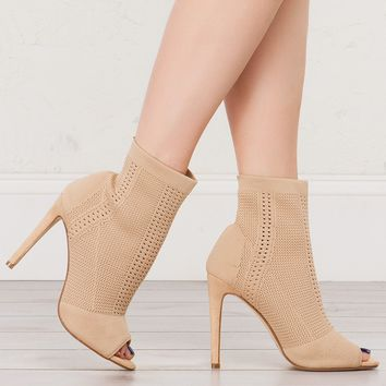 Open Toe Booties in Nude