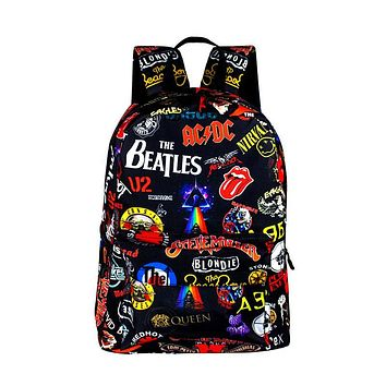 Rock Band The Beatles / ACDC / Iron Maiden Backpacks For Boys Girls Rucksack School Bags for Teenager Women Men Backpack