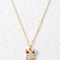 Rhinestone-Encrusted Owl Necklace