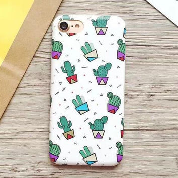 High Quality Cactus Case Summer Cover for iPhone 7 7Plus & iPhone se 5s 6 6 Plus +Gift Box