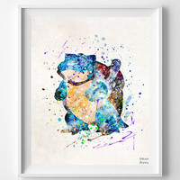 Blastoise Print, Watercolor, Pokemon Poster, Animation, Art, Pokemon Decor, Baby Room, Nursery Art, Giclee Wall Art, Fathers Day Gift
