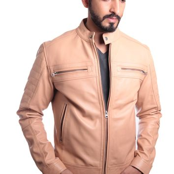 Men's Charles Beige Premium Leather Jacket - Clearance