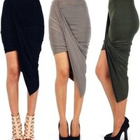 asymmetrical solid high low wrapped elastic waist draped cut out skirt 10083S