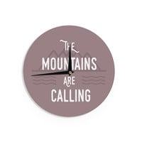 """Jackie Rose """"The Mountains Are Calling"""" Purple Typography Wall Clock"""