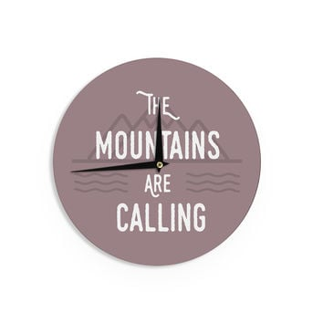 "Jackie Rose ""The Mountains Are Calling"" Purple Typography Wall Clock"