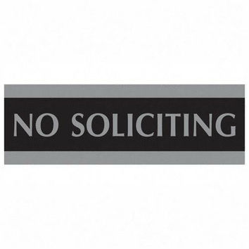 "u.s. stamp & sign no soliciting sign, 3""x9"", silver on black Case of 4"