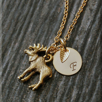 Gold Moose Charm Necklace, Initial Charm Necklace, Personalized, Moose Pendant, Wild Life Jewelry, Monogram Forest Animal Necklace