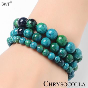 Natural Stone Chrysocolla Bracelets 6mm 8mm 10mm party gift BWT Brand YZ004A DIY Chrysocolla Round Bead Bangle Fashion Jewelry