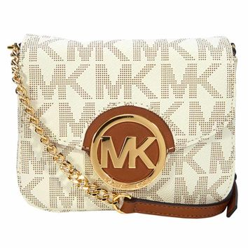 Michael Kors 32T4GFTC1B-150 Women's Fulton Small Vanilla Leather Crossbody Shoulder Bag
