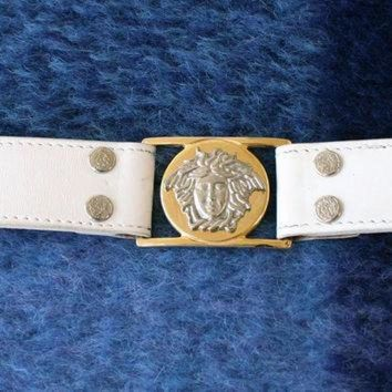 CHEN1ER Sale Authentic Gianni Versace Italy Medusa Leather White Belt 28 Size