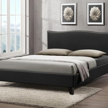 Baxton Studio Battersby Black Modern Bed with Upholstered Headboard - Queen Size  Set of