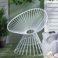 White Metal Patio Lounge Chair