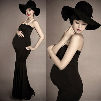 ZTOV 2016 Black Maternity Photography Prop Clothes Pregnancy Gown Long Dresses For Pregnant Women Clothing Photo Portrait dress