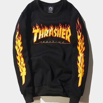 cc kuyou Thrasher Flaming Sweater
