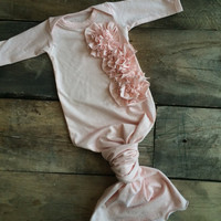 Organic newborn girl gown and hat in light pink with ruffles, take home outfit, by Lily & Charlie organic baby!
